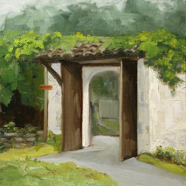 """""""Courtyard Gate - Xidi Village"""" original fine art by Jane Frederick"""