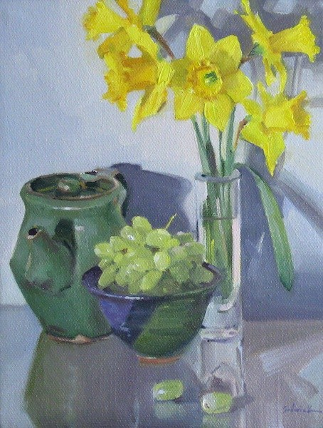 """Daffodils and Green Grapes floral art flower painting still life fruit original oil on canvas"" original fine art by Sarah Sedwick"