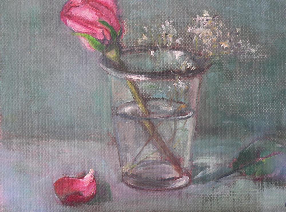 """another pink rose in glass"" original fine art by Carol Josefiak"