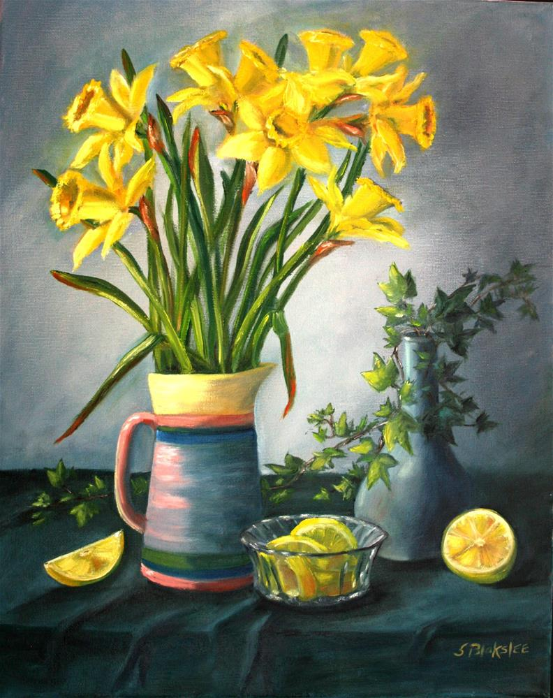 """Daffodils and Lemons"" original fine art by Sissy Blakslee"