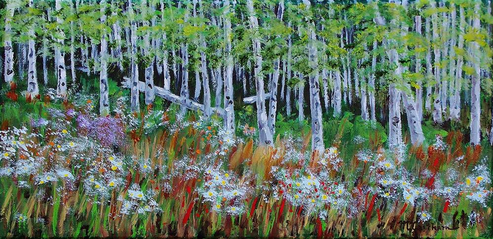 """Wildflowers And Aspens"" original fine art by Mike Caitham"