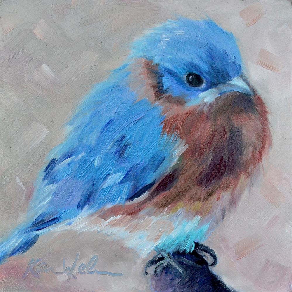 """Blue Bird"" original fine art by Karen Weber"
