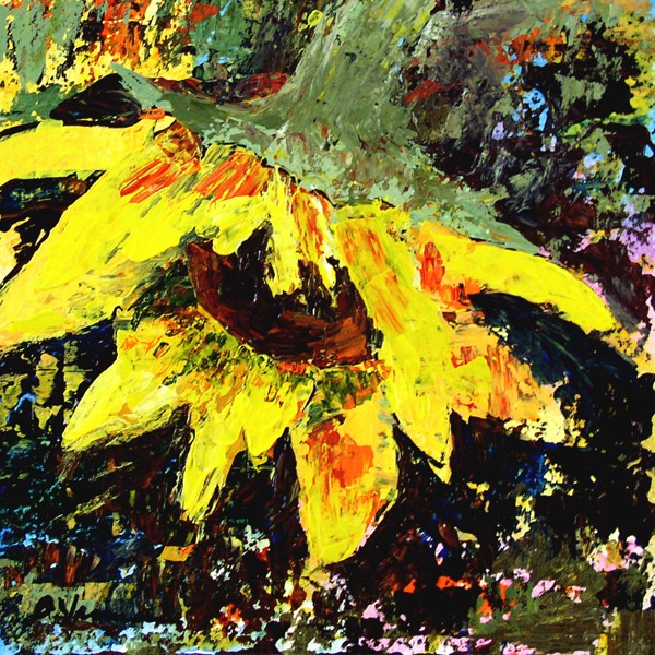 """Late Summer Sunflower"" original fine art by Anna Vreman"