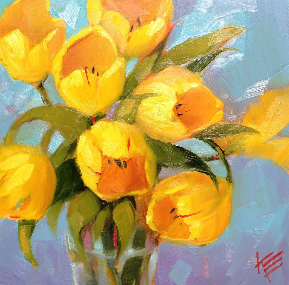 """Yellow on Blue"" original fine art by Krista Eaton"