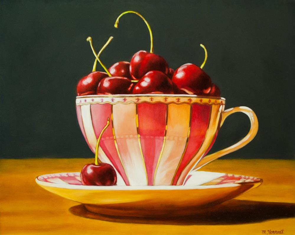 """Pink Stripe Cherries"" original fine art by Margaret Horvat"