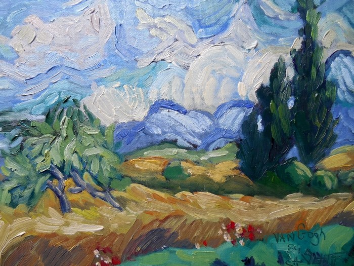 """Daily Painting, Small Oil Painting, VanGogh landscape, Tribute to Vincent by Carol Schiff, 6x8 Oi"" original fine art by Carol Schiff"