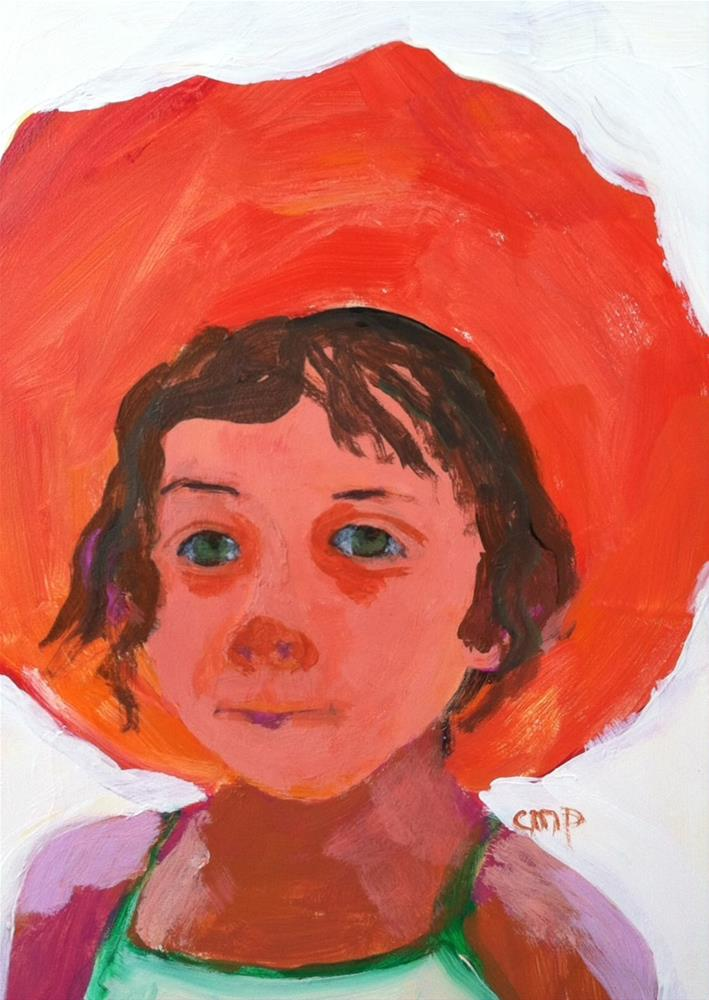 """Girl with Red Hat"" original fine art by Christine Parker"