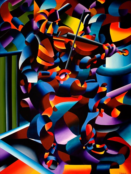 """Mark Webster Artist - The Violin Player in Paris - Abstract Futurist Figurative Oil Painting"" original fine art by Mark Webster"