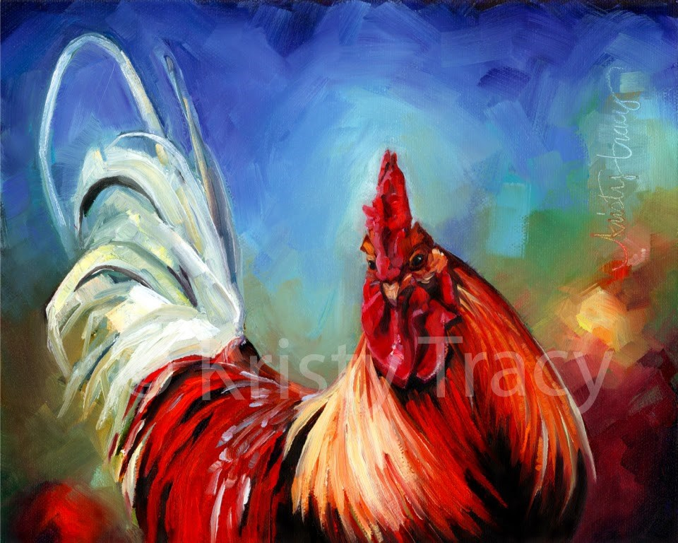 """RAINBOW ROOSTER"" original fine art by Kristy Tracy"