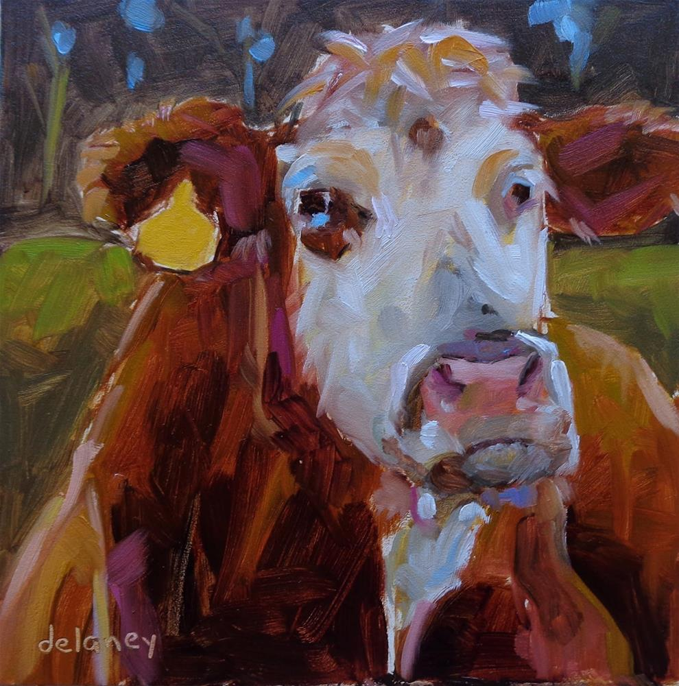 """Cow 121 FRANKLY SCARLET..."" original fine art by Jean Delaney"