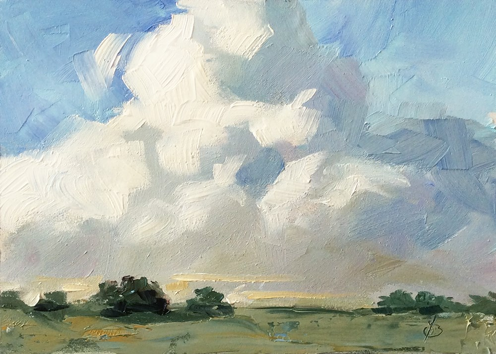 """DRAMA IN THE SKY"" original fine art by Tom Brown"