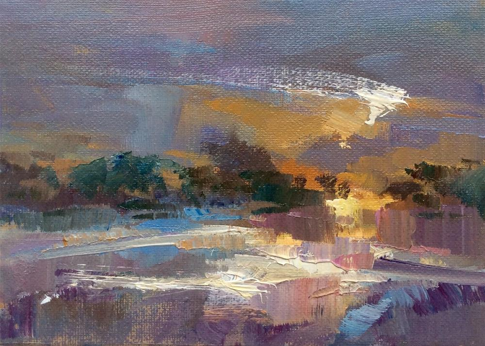 """Lakeside Lights"" original fine art by Anne Wood"
