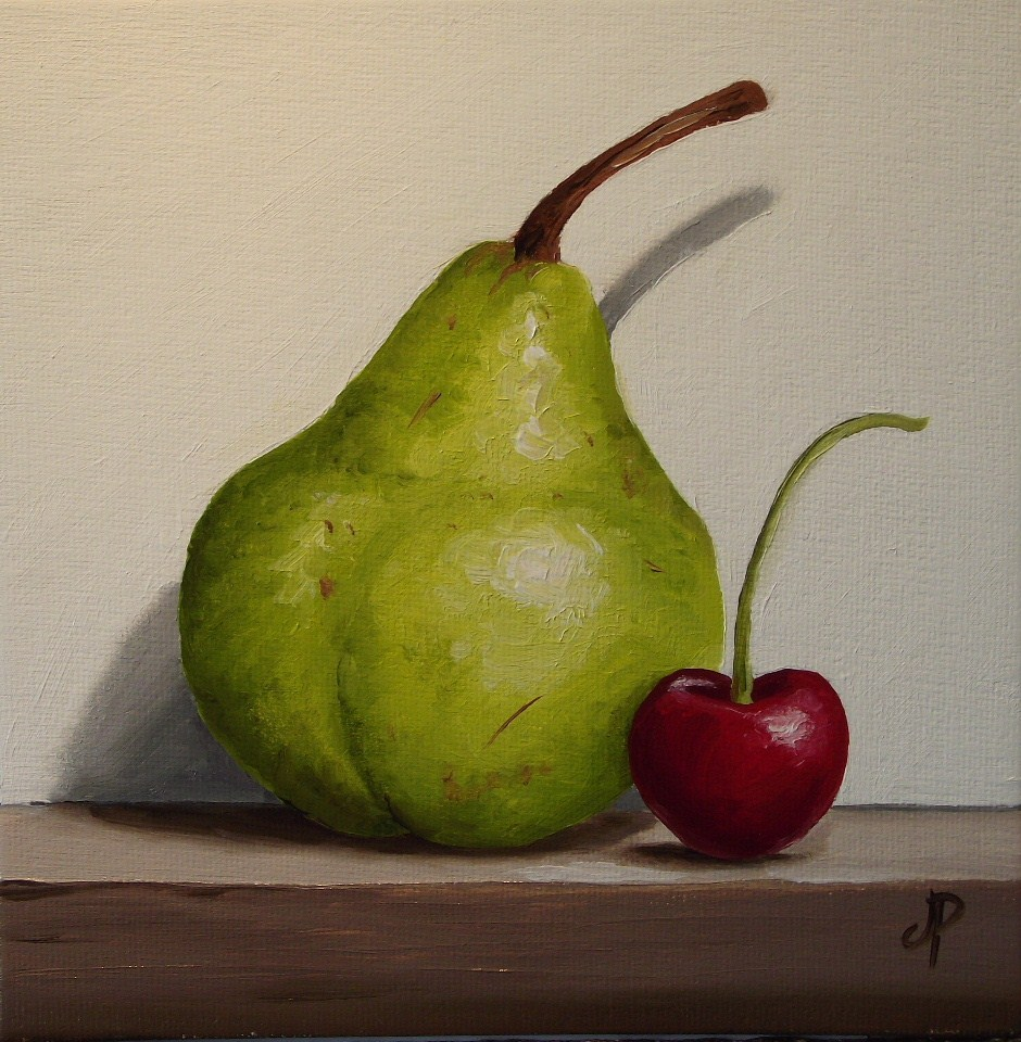 """Pear and Cherry"" original fine art by Jane Palmer"