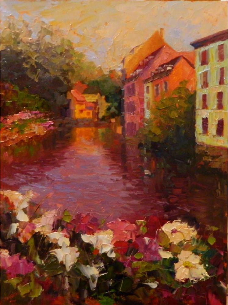 """Sur le Pont Couvert, 18x24, oil on linen, Strasbourg, paintings of France, impressionist painting"" original fine art by Maryanne Jacobsen"