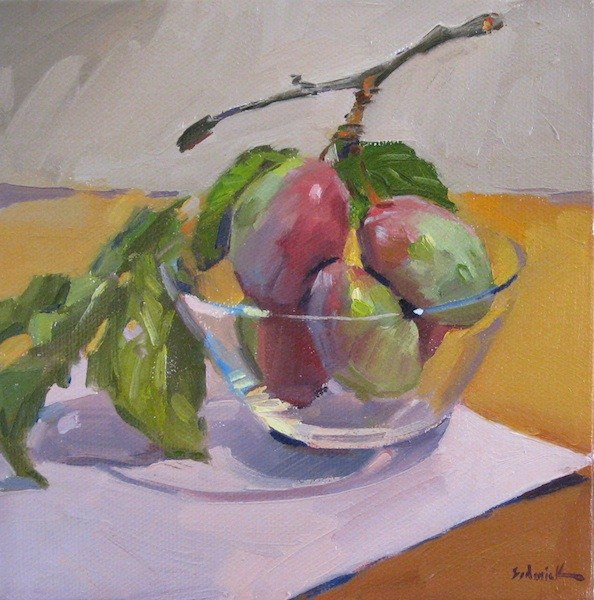 """Plums on a Branch fruit food kitchen wall art daily painting original oil"" original fine art by Sarah Sedwick"