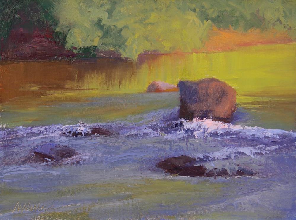 """#74 Peaceful stream"" original fine art by Nancy Wallace"