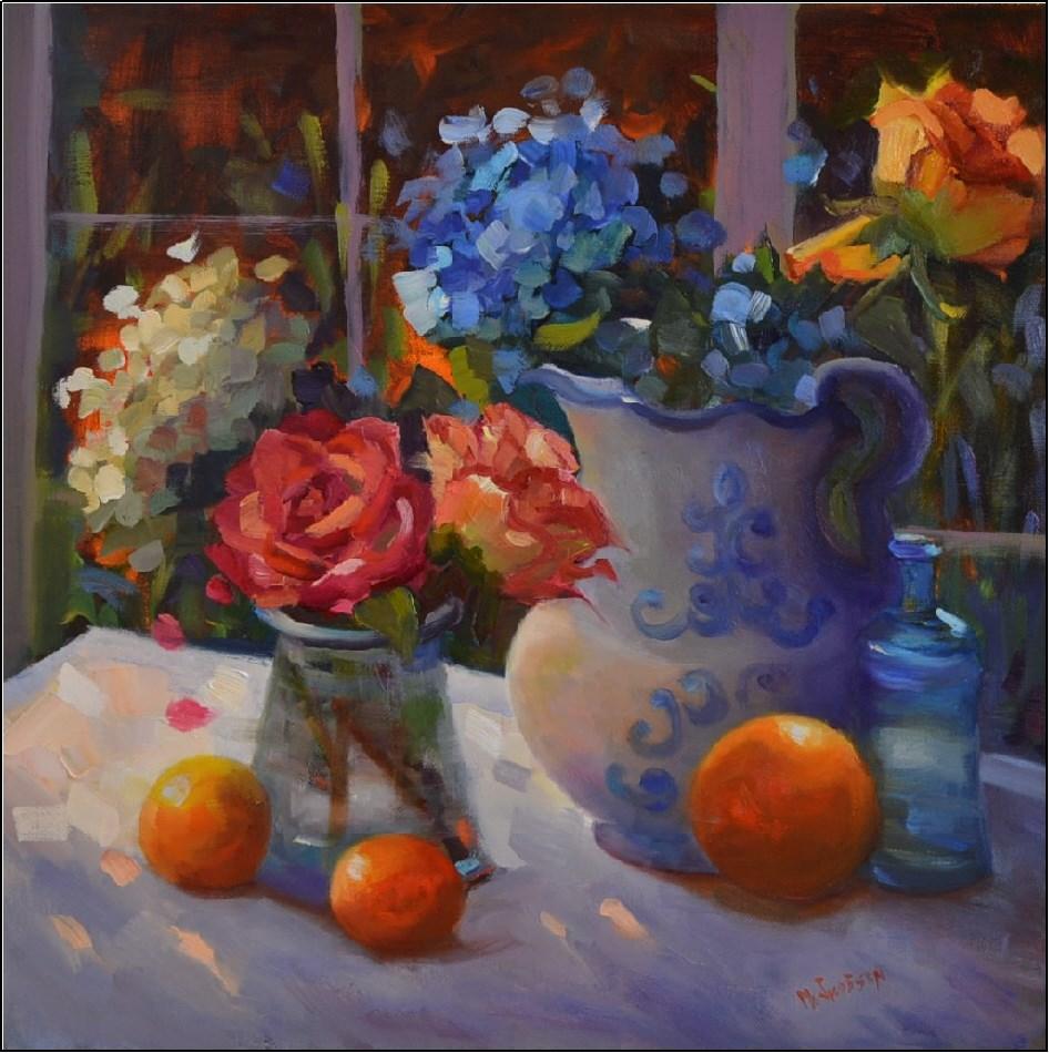 """Fresh Flowers, Fading Light, 18x18, oil on canvas, paintings of fresh flowers, original oil painting"" original fine art by Maryanne Jacobsen"