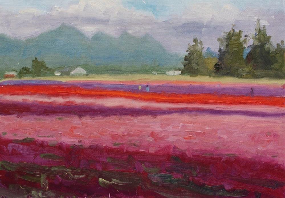 """No. 419 Mt Vernon Tulip Fields - Plein Air"" original fine art by Susan McManamen"