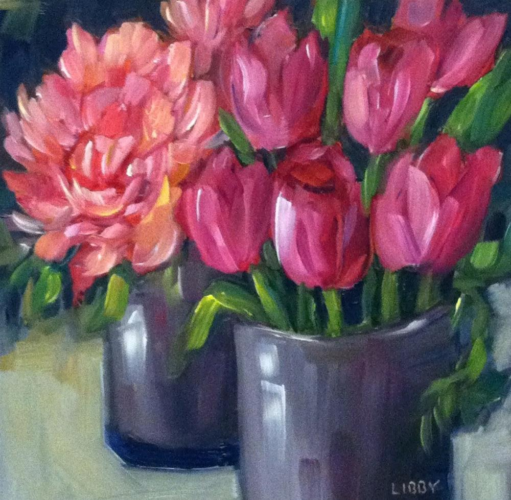 """Tulips and Peony"" original fine art by Libby Anderson"