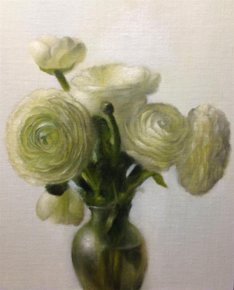 """""""White Ranunculus"""" original fine art by Jonathan Aller"""