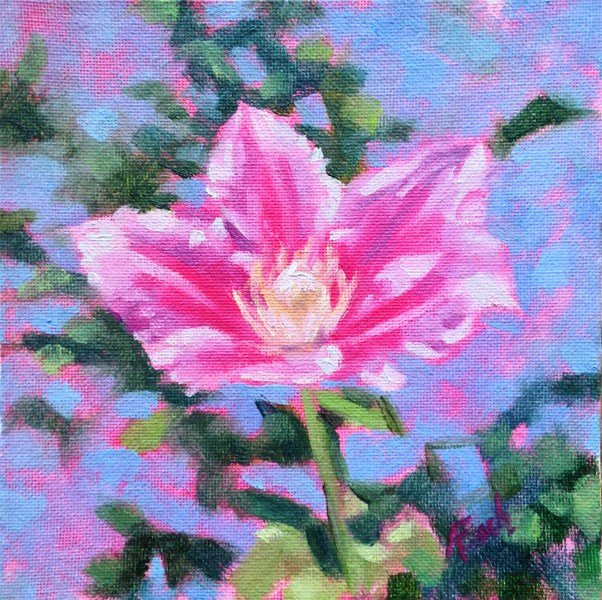 """""""Pink Clematis"""" original fine art by Audra Esch"""