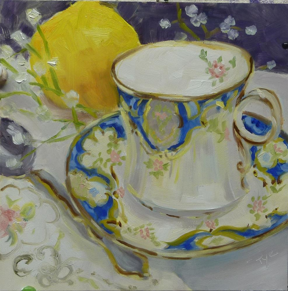 """Grandma Mason Cup with lemon 6x6"" original fine art by Mary Pyche"