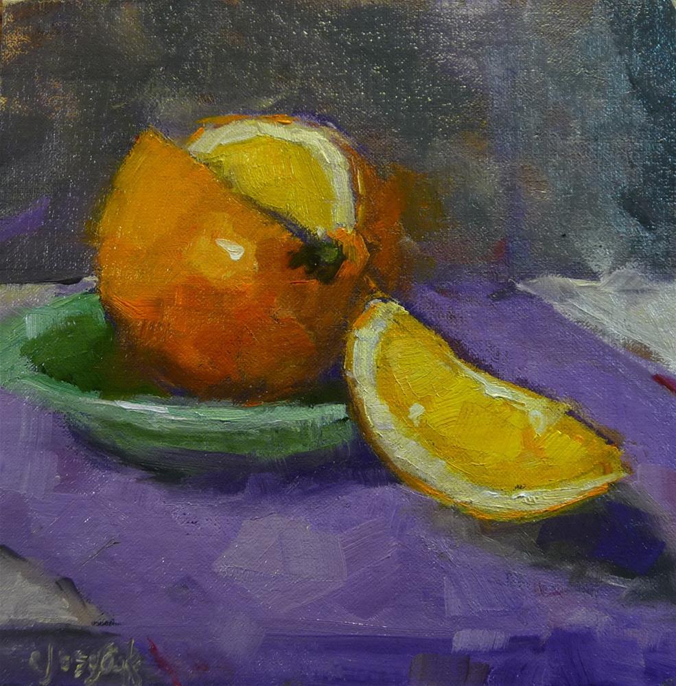 """Orange and green"" original fine art by Carol Josefiak"