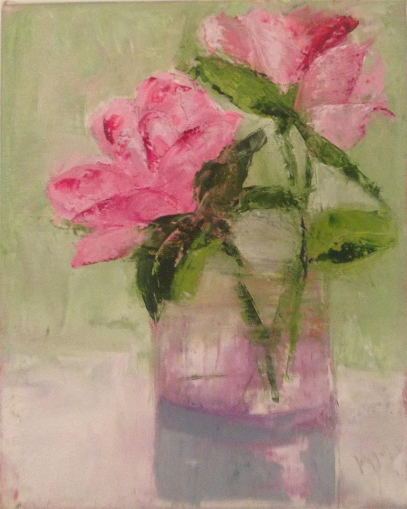 """Pink Roses"" original fine art by Karen Pinard"