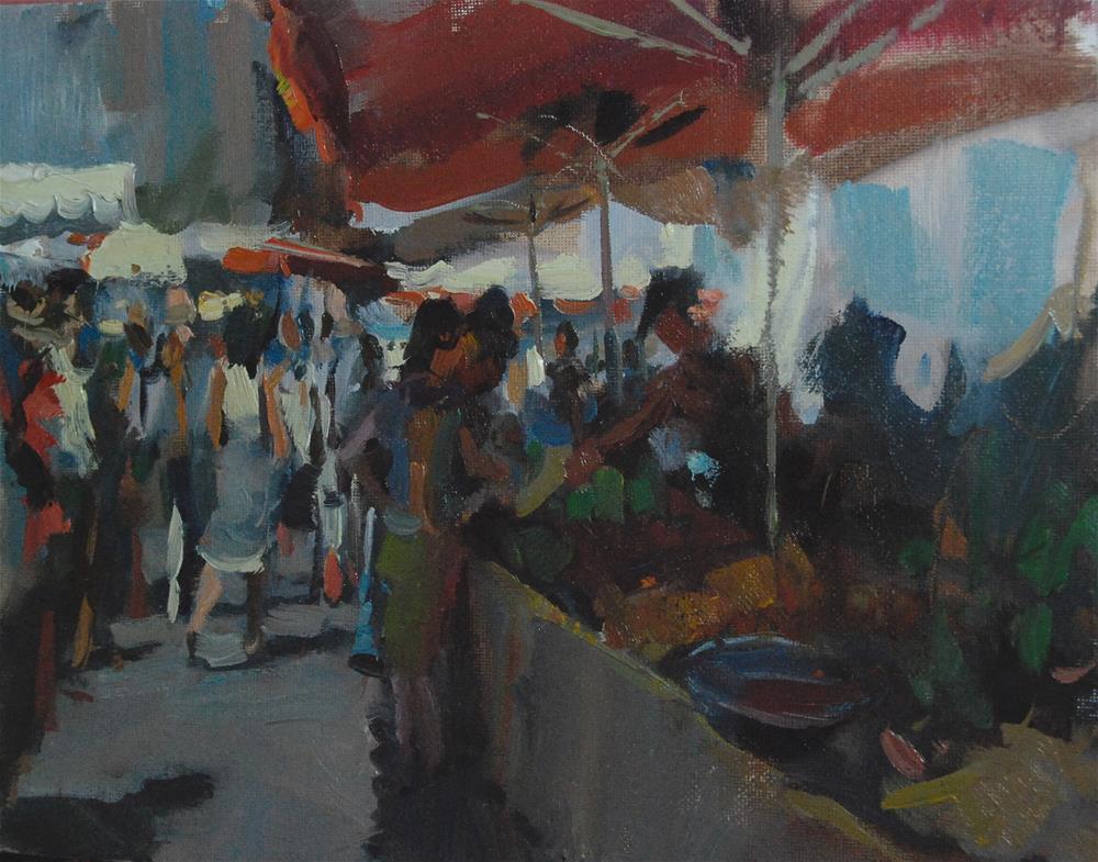 """Summer Market in France"" original fine art by Margaret Dyer"