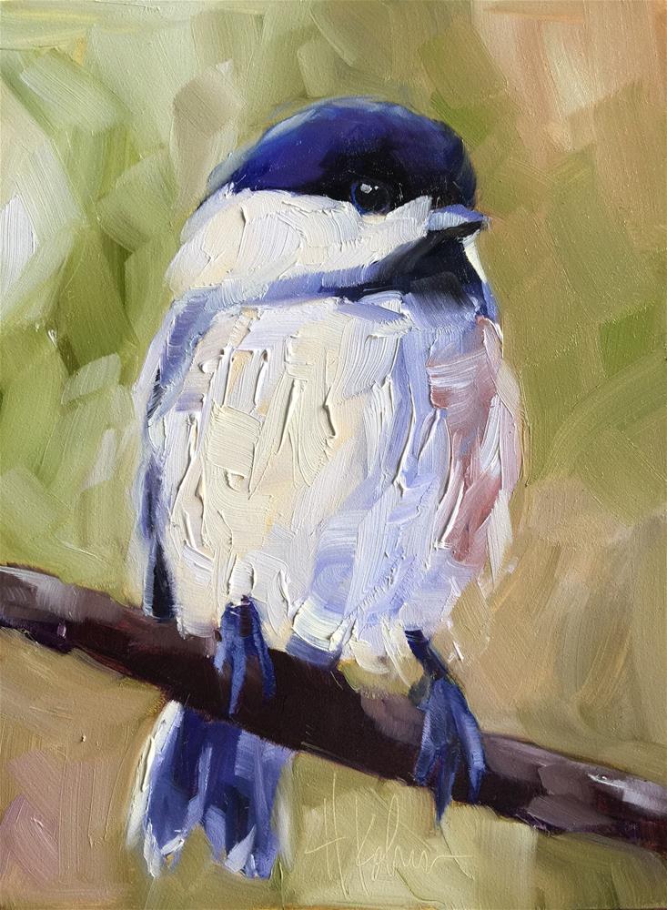 """Chickadee"" original fine art by Hallie Kohn"