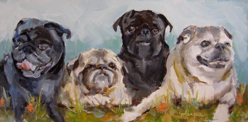 """A Mugg of Pugs"" original fine art by Marcia Hodges"