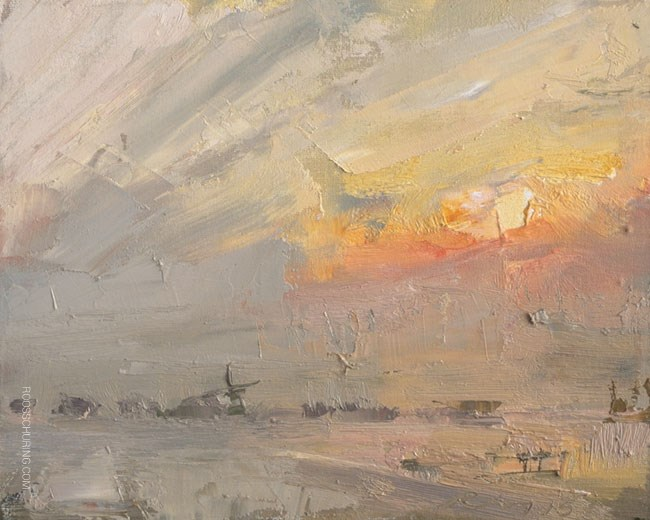 """Fog Landscape and Sunrise"" original fine art by Roos Schuring"
