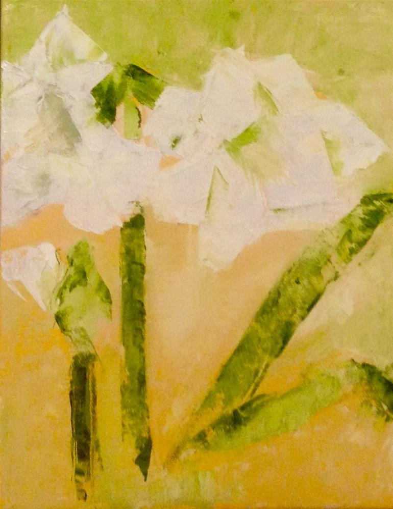 """White Amaryllis"" original fine art by Karen Pinard"