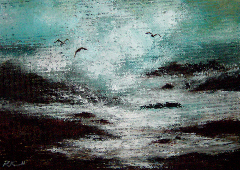 """Three Seagulls"" original fine art by Bob Kimball"