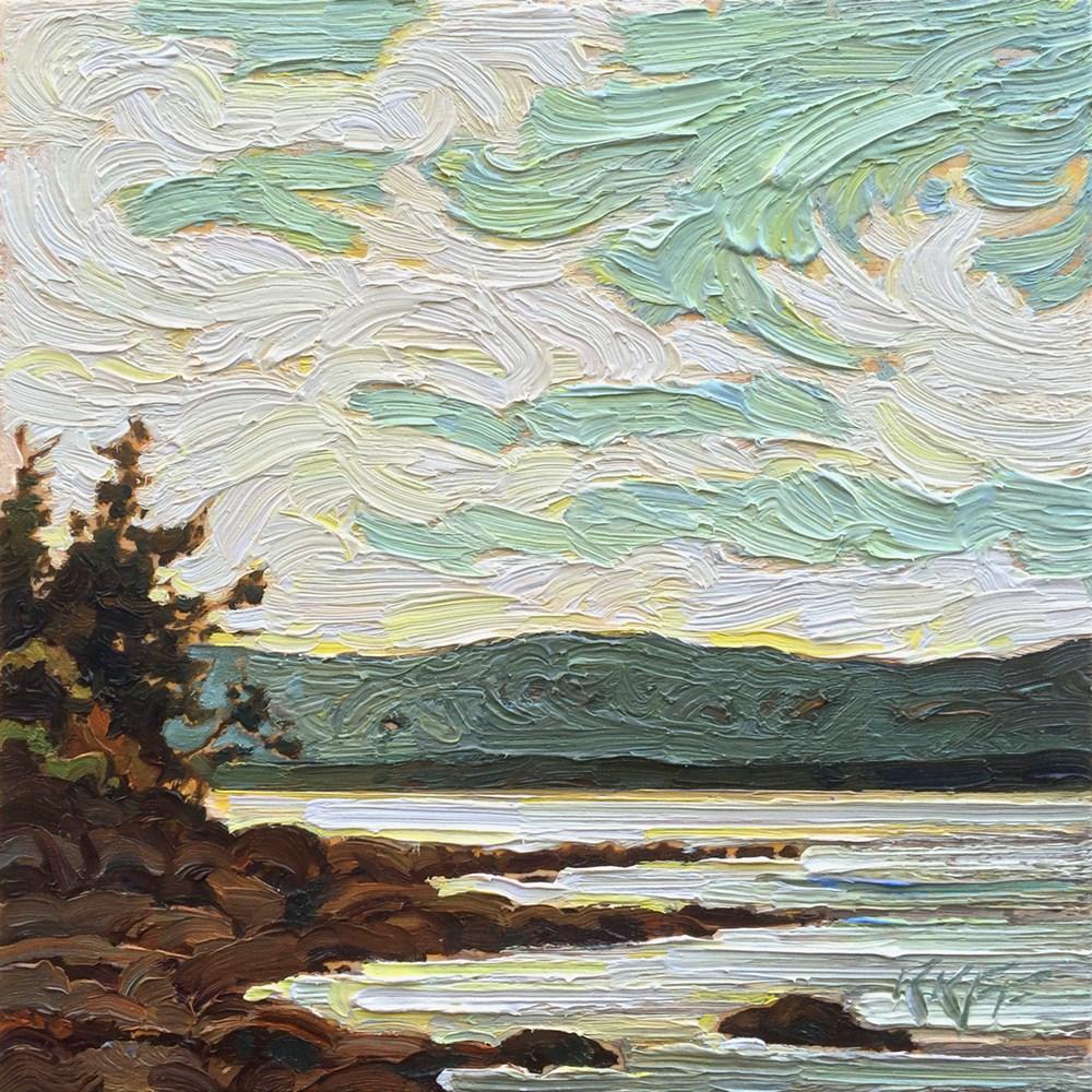 """Sandstone Beach: 6x6 oil on panel"" original fine art by Ken Faulks"