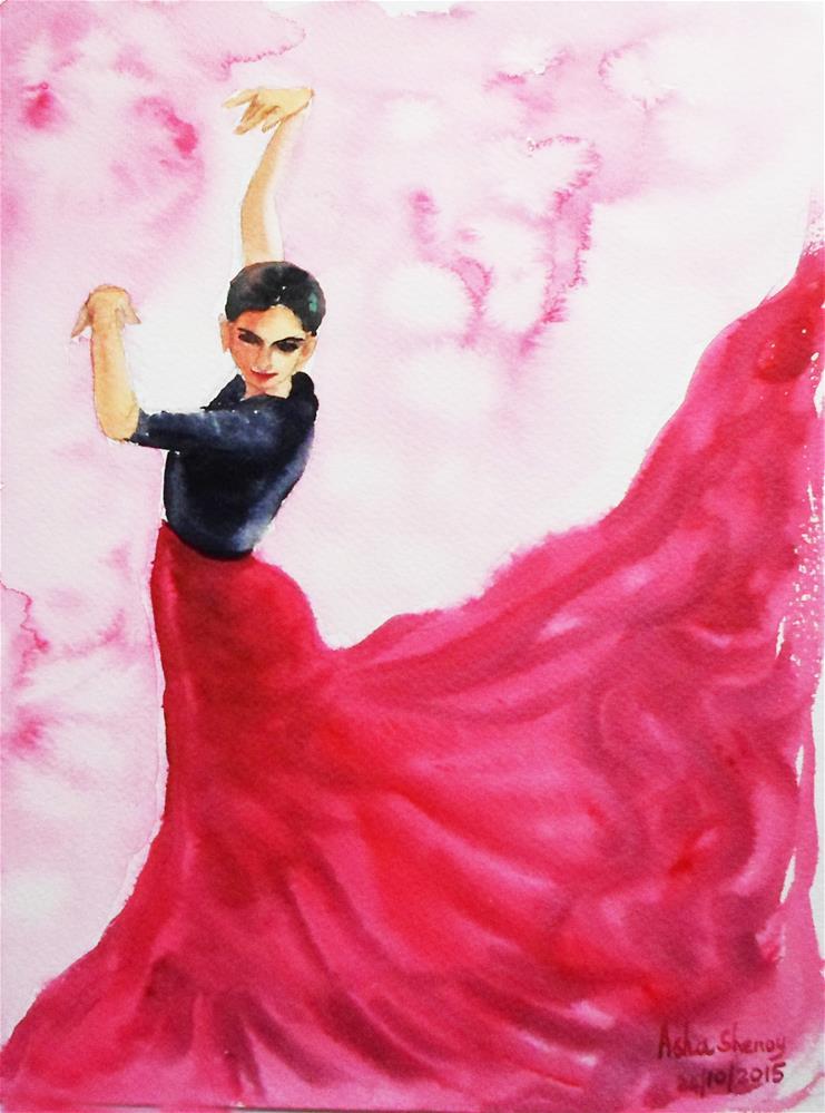 """""""Flamenco Red"""" original fine art by Asha Shenoy S"""