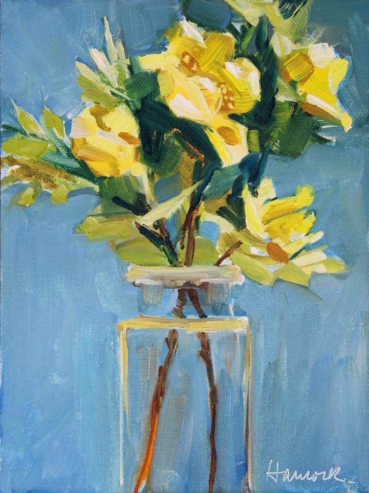 """Father Hugo Roses in a Square Glass Jar"" original fine art by Gretchen Hancock"
