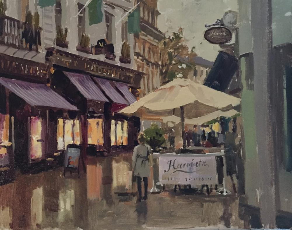 """Waiting at Harriets"" original fine art by Haidee-Jo Summers ROI"