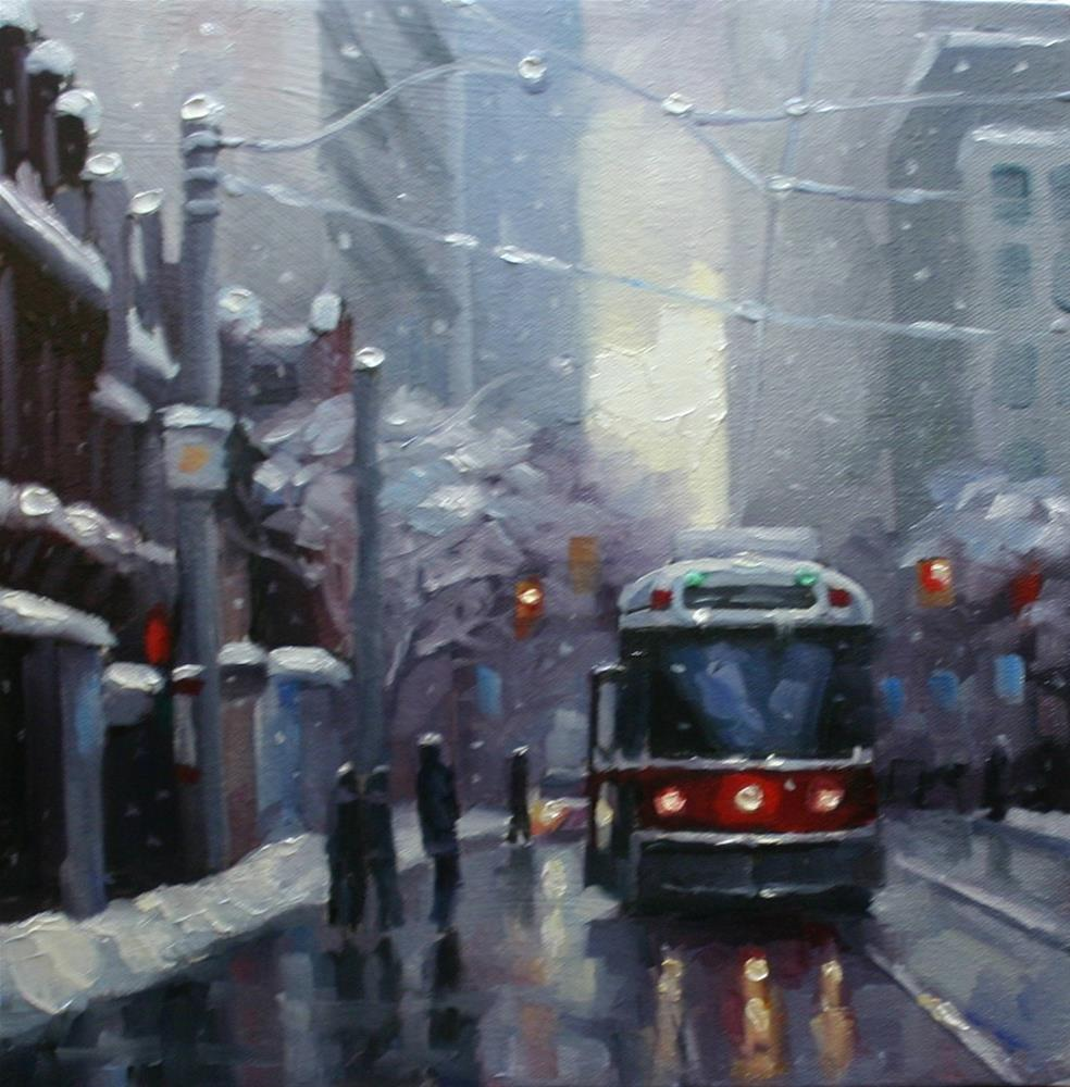 """Snowfall on Queen"" original fine art by Catherine Jeffrey"