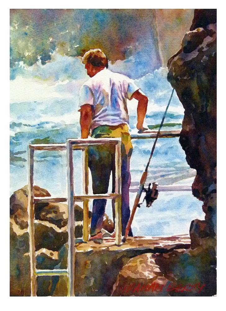 """""""Looking to fish."""" original fine art by Graham Berry"""