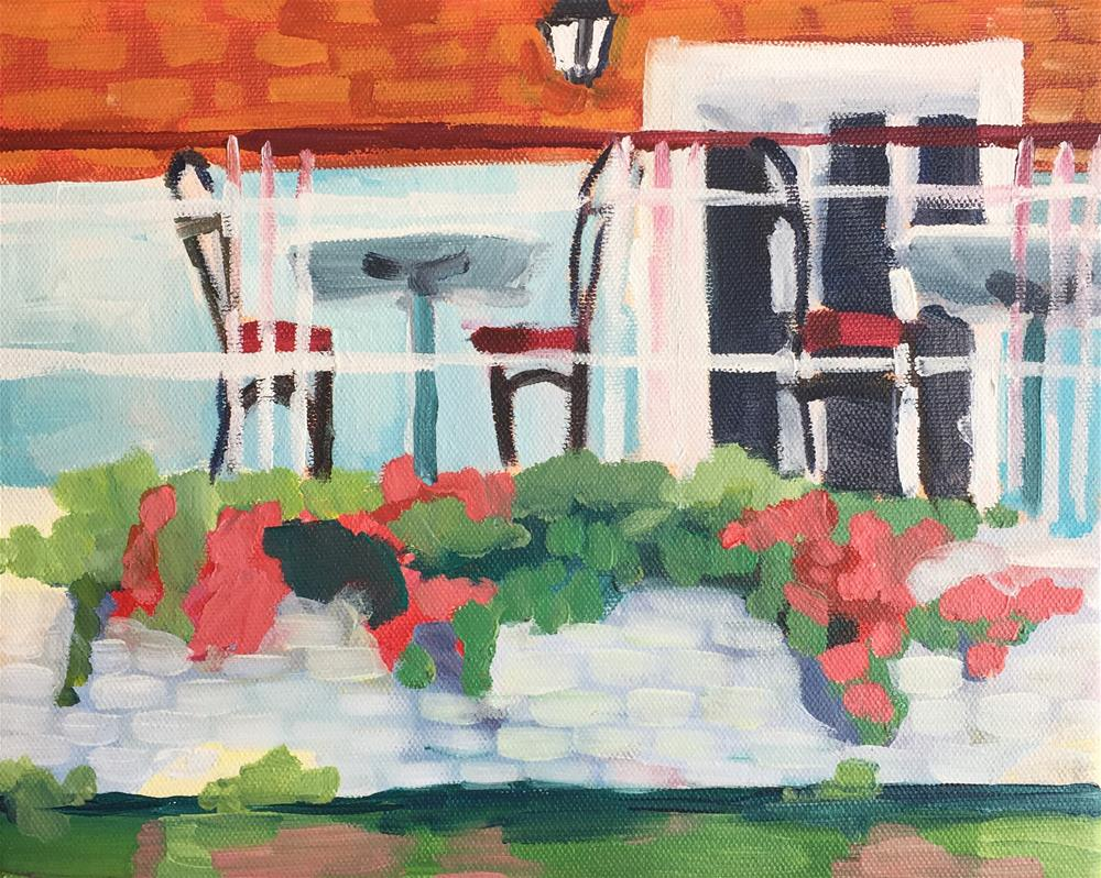 """Cafe from the River Cam"" original fine art by Jessie Dodington"