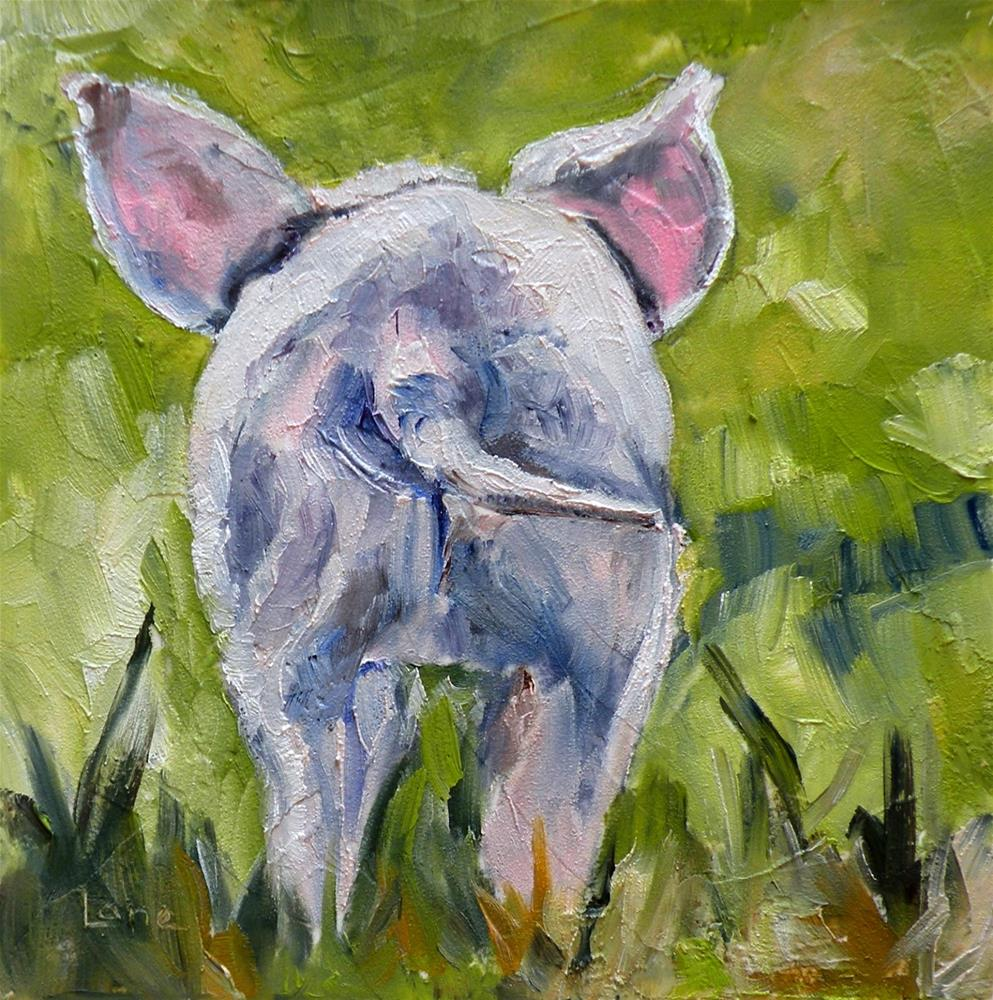 """PIGGY TAIL ORIGINAL 4X4 MINI FOR ETSY © SAUNDRA LANE GALLOWAY"" original fine art by Saundra Lane Galloway"