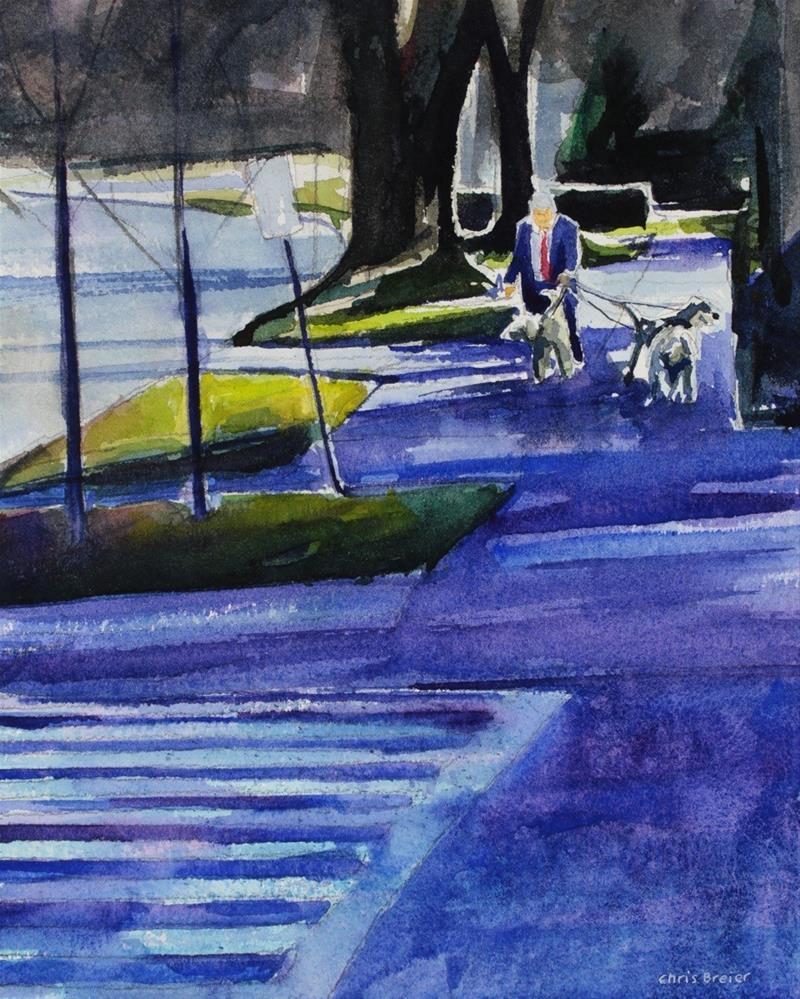 """Walking the Dogs"" original fine art by Chris  Breier"