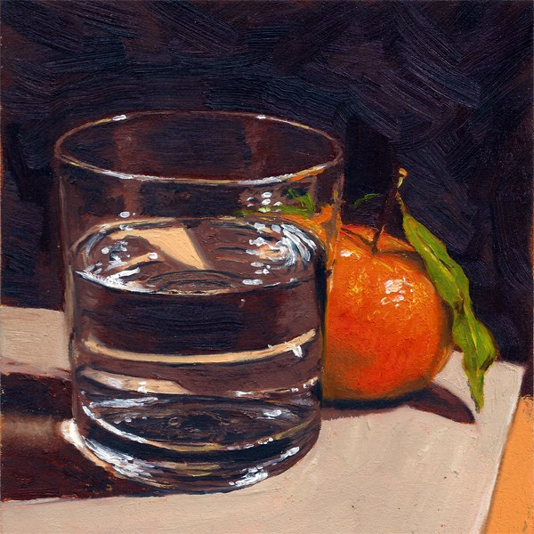 """Clementine with glass"" original fine art by Peter J Sandford"