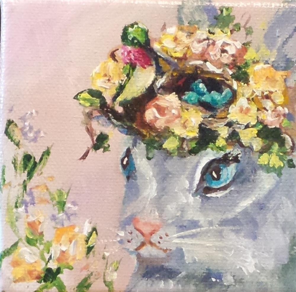 """A Bird on the Head is better than..."" original fine art by Susie Monzingo"