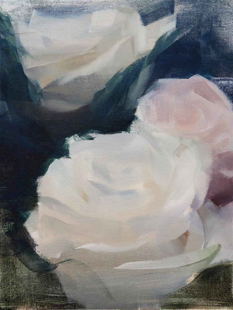 """White and Pink Roses (no.111)"" original fine art by Michael William"