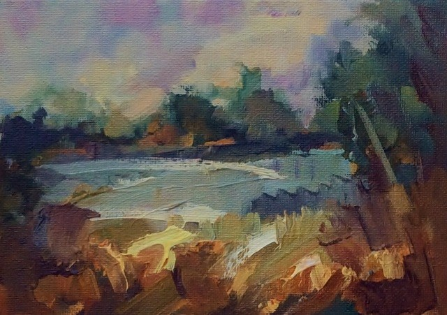 """Lakeside View"" original fine art by Anne Wood"