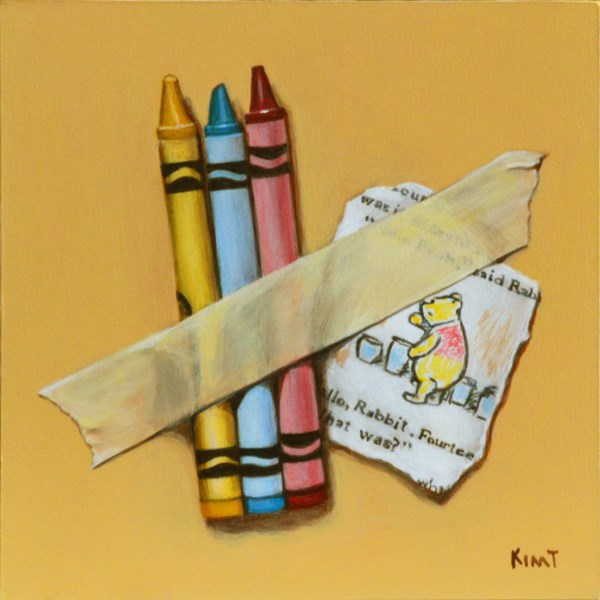 """Winnie the Pooh and Crayons Too"" original fine art by Kim Testone"