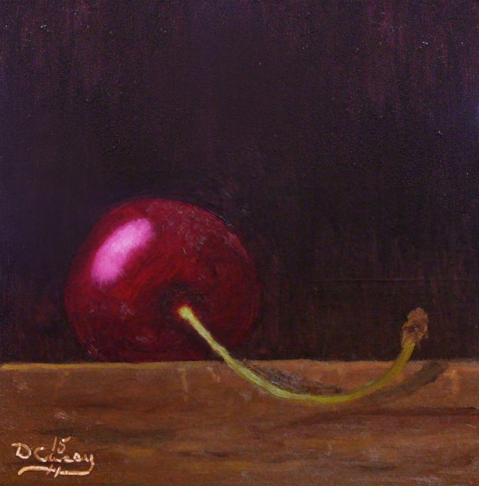 """30-in-30 Challenge – Day 14 – Cherry on a Wood Block"" original fine art by Dave Casey"
