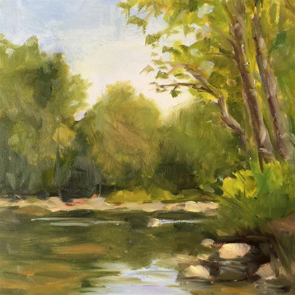 """Let's camp by the River"" original fine art by Debra Dunn"